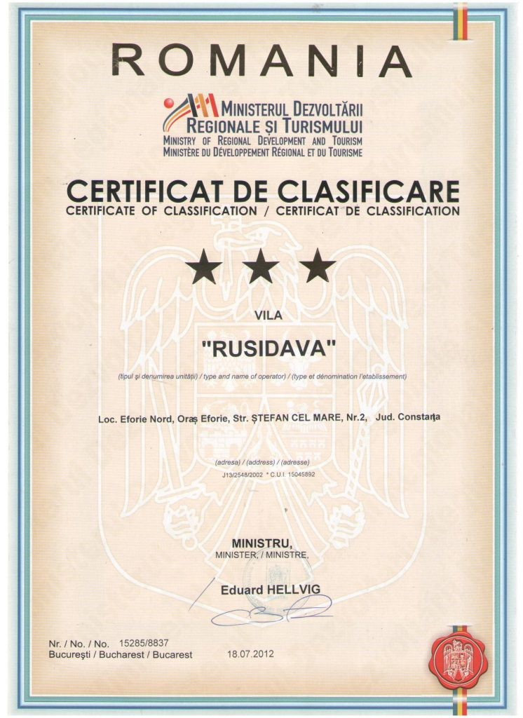 certificat clasificare eforie